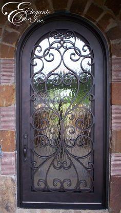 Custom wrought iron front door.