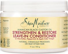 SheaMoisture's Jamaican Black Castor Oil Strengthen & Restore Leave-In Conditioner with Shea Butter, Peppermint & Apple Cider Vinegar intensely smooths & nourishes natural, chemically processed or heat styled hair. Jamaican Black Castor Oil, Peppermint Leaves, Jojoba, Leave In Conditioner, Shea Butter, Curly Hair Styles, Moisturizer, Pure Products, Hair Products