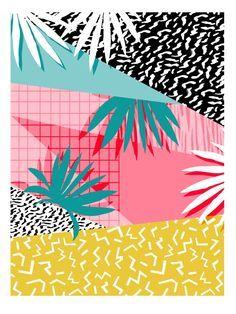 Bingo - throwback retro memphis neon tropical socal desert festival trendy hipster pattern pop art Art Print by Wacka | Society6