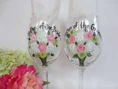 Hand Painted and Personalized to your wedding flowers - Wine Glasses by www.samdesigns.net, $24 ea.