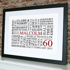 Personalised birthday print 21st 30th 40th 50th 60th 70th personalised 60th birthday word art posters prints pronofoot35fo Image collections