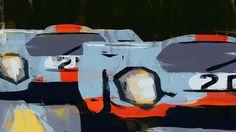 DOUG GARRISON :: MOTORSPORTS ARTWORK :: PORSCHE 917Ks AT LE MANS, 1970 ARTWORK