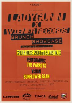 Ladygunn X Wiener Records Brunch Showcase | Wednesday, March 18, 2015 | 12-3pm | Spiderhouse: 2906 Fruth St., Austin, TX 78705 | Complimentary brunch, special cocktails, gifts, music, and more | Free with RSVP via Do512: http://2015.do512.com/ladygunnxwienerrecordsbrunchshowcase2015
