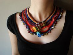 Chimerical Flowers ... Freeform Crochet Necklace by irregular expressions
