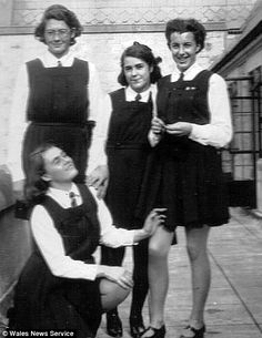 Pupils pose on the sixth form balcony above the science labs School Girl Dress, School Uniform Girls, School Uniforms, Girls School, Dress Girl, Girls Boarding Schools, Girls Pinafore Dress, Finishing School, Cute Young Girl