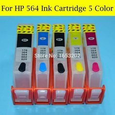 BK/BK/C/M/Y 564 XL Ink Cartridge For HP 564 For Photosmart Premium C309a C309G C310A C410A C510A D5445 6520 Printer #Affiliate