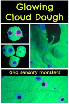 Glowing Cloud Dough - kids love the fun texture of cloud dough, and having it glow is just too cool!
