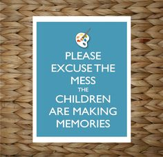 Playroom Wall Art - Paint Mess Memories -  8x10 printed digital wall decor - original design by a drop of golden sun. $12.00, via Etsy.