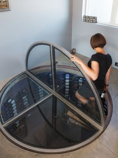 Others, Industrial Wine Cellar Spiral Staircase Also Unique Floor Door Design Made By Glass: Wine Bar with Refrigerator and other Ideas