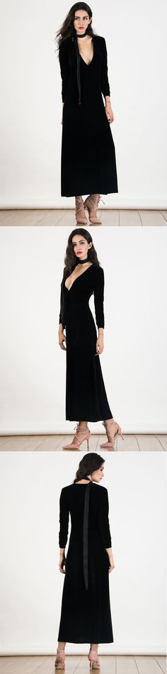 Quite simple but extreme beautiful. Love it. Always be a fan of maxi dresses.Deep Plunge Velvet Maxi Dress, new in this fall.