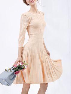 Plain Cotton-blend Midi Dress Umi Eason - stylewe.com