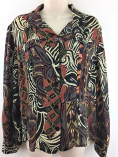 Chicos 3 100% Silk Top Button Front Print Blouse Shirt Chest Pockets L XL 16 18 #Chicos #Blouse #Career