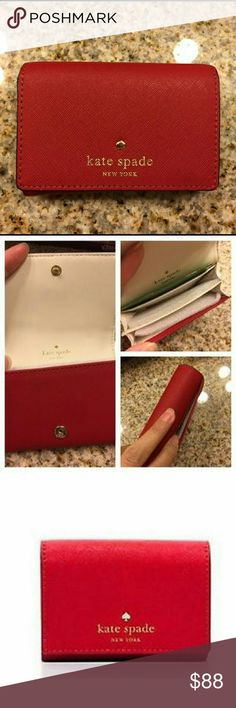 NWT Dark Red Kate Spade Christine Wallet Gorgeous leather wallet, just big enough to fit all you need. Cream white on the inside with silver kate spade logo on front flap. Makes a perfect gift! kate spade Bags Wallets