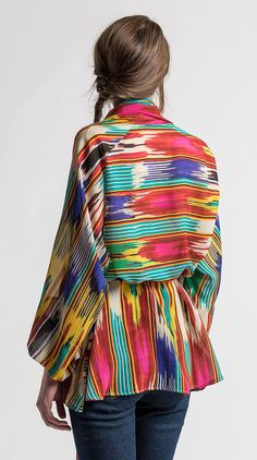 $1,025.00 | Etro Sheer Silk Multicolored Ikat Print Top | Santa Fe Dry Goods | #etro #etroclothing #etrowomen #etrowomenswear #spring #summer #ss17 #fashion #clothing #style #ikat #santafe #santafedrygoods