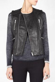 "Iro ""Leda"" Black Leather BIker Vest On www.FullCircleFashion.com"