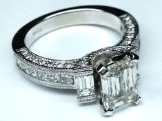 Vintage Emerald Cut Diamond Engagement Ring - ES258ECPL