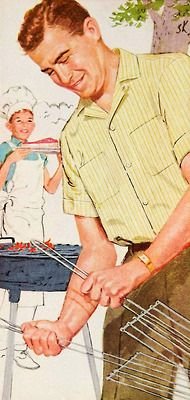 A grilling dad. Not much has changed the past few decades. Men were expected to grill meats a decades ago; they're still expected to grill meats today. Marlboro Shirt, Marlboro Man, Bbq World, Contemporary Fabric, Vintage Cookbooks, Free Black, Mad Men, Patterned Shorts, Retro Vintage