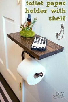 DIY Bathroom Decor Ideas that can be done with cheap Dollar Stores items! These DIY bathroom ideas are perfect for renters and people on a budget. Transform your small bathroom with these classy & easy ideas! Diy Toilet Paper Holder, Toilet Paper Storage, Toilet Roll Holder With Shelf, Diy Bracelet Holder Paper Towel, Toilet Paper Stand, Towel Holder, Diy Bathroom Remodel, Bathroom Hacks, Bathroom Closet