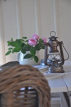 rustic lantern with pink roses....nice