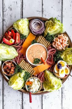 Jun 2019 - Whether you're throwing a summer party or hosting a few friends for dinner–a salad board or a Shrimp Wedge Salad Charcuterie Board is an easy way to host! Charcuterie Meats, Charcuterie And Cheese Board, Charcuterie For Dinner, Charcuterie Recipes, Cheese Boards, Party Food Platters, Food Trays, Catering Platters, Tapas