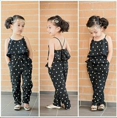 New Girls Children Kids Black Heart Love Pattern Jumpsuit Bodysuit With Belt #Unbranded