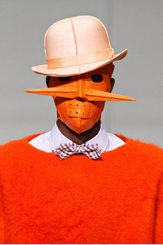 If It's Hip, It's Here (Archives): Delectably Disturbing 2012 Fall Menswear Collection From Walter Van Beirendonck. Dirk Van Saene, Walter Van Beirendonck, Quirky Fashion, Crazy Fashion, Fashion Mask, Fashion Shoot, Sculptural Fashion, Future Fashion, New Artists