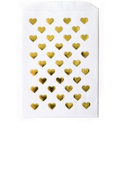Gold Foil Heart Print Favor Bags in White
