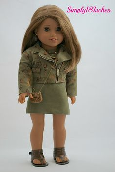 American Girl Doll Clothing. Faux Leather Cropped Moto Jacket, Sheath Dress, Necklace, Earrings, Purse