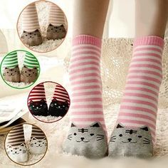 Buy NANA Stockings Cat Print Striped Socks at YesStyle.com.au! Quality products at remarkable prices. FREE SHIPPING to Austrailia on orders over AU$45.