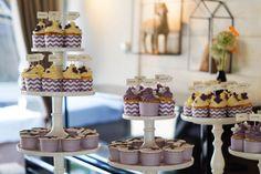 Cupcakes purple white Chevron stripes