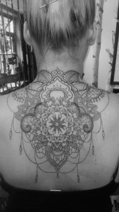 Mandala back and neck dotwork piece by fi at the colour of magic tattoo studio, uk