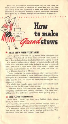 """WWII Pamphlet, """"Recipes for Today,"""" published by General Foods Corporation, 1943 ~ page 5 Retro Recipes, Old Recipes, Vintage Recipes, Cookbook Recipes, Cooking Recipes, War Recipe, Veal Stew, Wartime Recipes, Kitchens"""