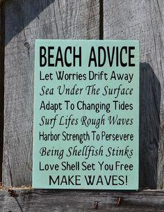 Beach Sign, Beach House Decor, Custom Colors Personalized Advice Ocean Wood Sign Coastal Nautical Theme Beach Wedding Nautical Nursery Girls