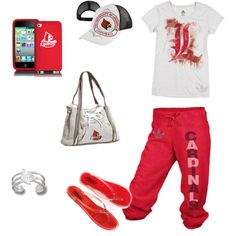 Louisville Cardinals Head-to-Toe Ensemble Louisville Basketball, University Of Louisville, Girl Outfits, Cute Outfits, Louisville Cardinals, Head To Toe, Comfortable Outfits, Lounge Wear, My Style