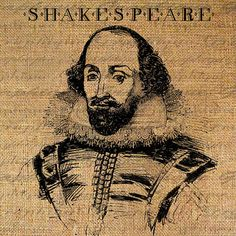 SHAKESPEARE The BARD Portrait TEXT Digital Collage Sheet Download Burlap Fabric Transfer Iron On Pillows Totes Tea Towels No. 3696