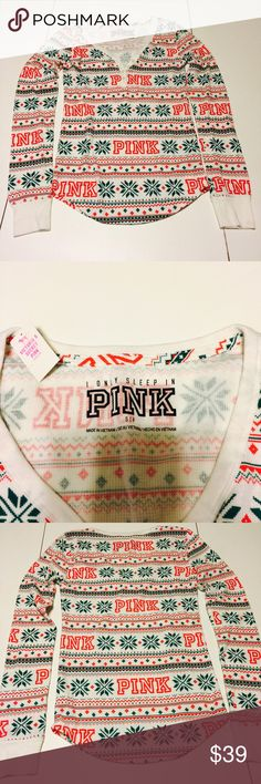 PINK Victoria's Secret Holiday Thermal Shirt VS PINK thermal sleep shirt in red and green Christmas sweater print PINK Victoria's Secret Intimates & Sleepwear Pajamas Thermal Shirt, Sleep Shirt, Victoria Secret Bags, Green Christmas, Fashion Design, Fashion Tips, Fashion Trends, Vs Pink, Christmas Sweaters