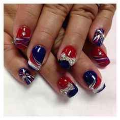 Beautiful Photo Nail Art 40 Ideas For 4th Of July Nails ❤ liked on Polyvore featuring beauty products, nail care and nail treatments
