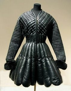 Uhhh Beautiful Coat and belt, Winter padded and black leather trimmed with fox fur black leather with gilt embellishments