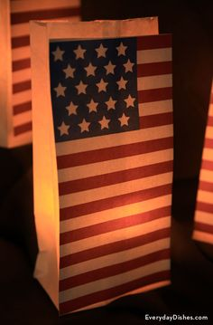 Make paper lanterns in a matter of minutes to light your walkway for the 4th of July. Tape printable flag to the front of white bags then insert battery-operated candles. This craft is inexpensive and couldn't be any easier!