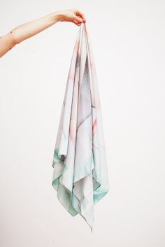 B&F Collab / Postfold III By Arvida / Sweden / Sand Washed Silk Scarf / 145X145 Cm
