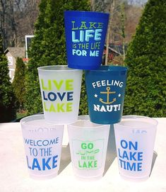 Fill 'em, tip 'em, flip 'em—shatterproof cups are ideal for the lake! Mix and Match your fleet of cups that are perfect for the lake! These lightweight flex cups are great for drinks on and off the boat. Lids and Straws available. How Cute Is That, LLC Lake Signs, Beach Signs, Lake Party, Lake Decor, Lake Cabins, Lake Cottage, Lake Life, Cool Places To Visit, Fill