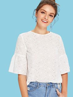 Shop Flounce Sleeve Keyhole Back Eyelet Top online. SHEIN offers Flounce Sleeve Keyhole Back Eyelet Top & more to fit your fashionable needs. Eyelet Top, Plain Tops, Blouse Dress, Casual Tops, Types Of Sleeves, Blouse Designs, Fashion Outfits, Fall Fashion, Fashion Women