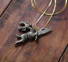 Flying Reindeer Brass Pocket Knife Necklace
