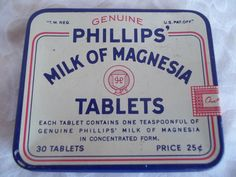 Vintage Advertising Phillips Tin Milk of Magnesia. $7.50, via Etsy.