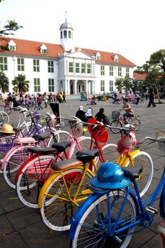 Colorful bikes: Upon arriving at Fatahillah Square, you will see many colorful, old bicycles known as onthel parked arou...