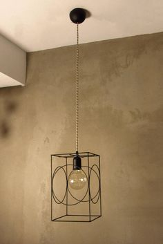 Minimal Rectangular Cage with Rings Pendant Light Industrial