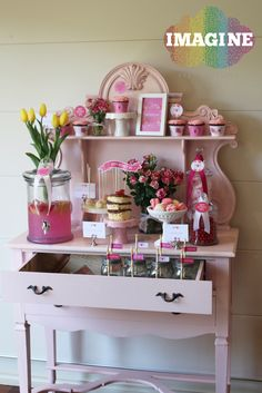 Dessert table at a Pink Floral Mother's Day Party!  See more party ideas at CatchMyParty.com!