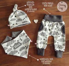 Schnittmuster Mütze Freebook Knotenmütze von Klimperklein - Halstuch Freebook Halstuch von Farbenmix.de - Hose CozyPants von Kid5 - newborn outfit - clouds - sewing - Wolken - Nähen - Baby - Sewing - Pattern - Neugeborene - Babyoutfit - Babyjunge - Kliniktasche