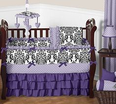 Sweet Jojo Designs Boutique Sloane Lavender Purple White Polka Dot and Damask Girls Baby Bedding 9 Piece Crib Set *** You can find out more details at the link of the image.