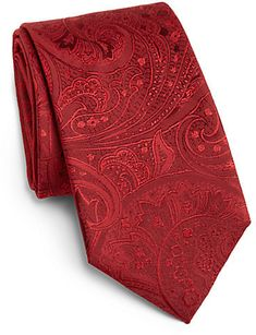$95, Red Paisley Silk Tie: Hugo Boss Boss Paisley Silk Tie. Sold by Saks Fifth Avenue. Click for more info: https://lookastic.com/men/shop_items/35044/redirect
